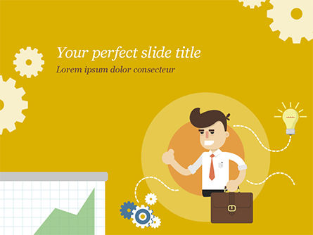 Man with Business Ideas Design Concept PowerPoint Template, 15000, Business Concepts — PoweredTemplate.com