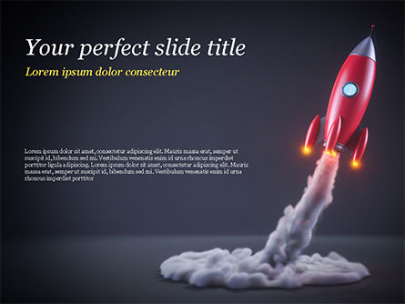 Red Rocket Launching PowerPoint Template, 15001, Technology and Science — PoweredTemplate.com