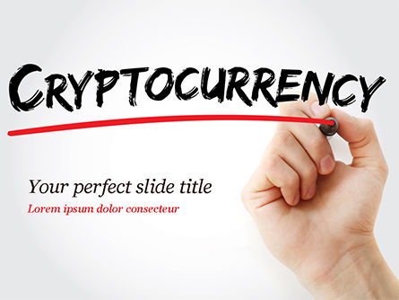 Business Concepts: A Hand Writing Cryptocurrency with Marker PowerPoint Template #15004