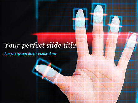 Fingerprint Scanning PowerPoint Template, 15008, Technology and Science — PoweredTemplate.com