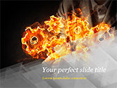 Business Concepts: Man with Fire Gears PowerPoint Template #15014