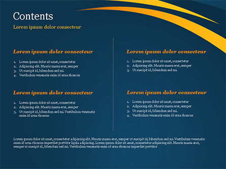 Orange Curves on Blue Background PowerPoint Template, Slide 2, 15017, Abstract/Textures — PoweredTemplate.com