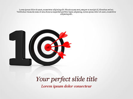 Business Concepts: 10 with Dartboard PowerPoint Template #15025
