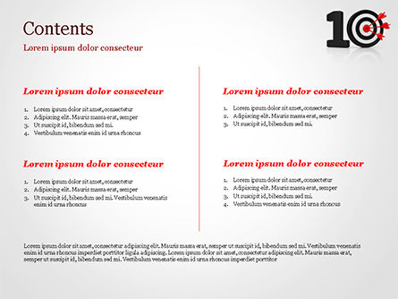 10 with Dartboard PowerPoint Template, Slide 2, 15025, Business Concepts — PoweredTemplate.com