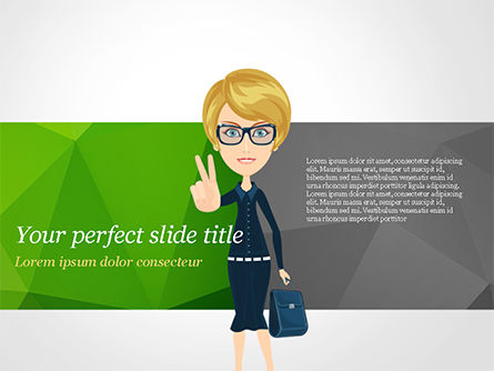 Businesswoman Showing Victory Sign PowerPoint Template, 15027, Business Concepts — PoweredTemplate.com