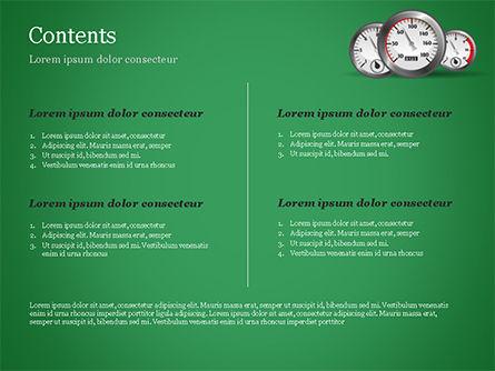 Car Dashboard Gauges PowerPoint Template, Slide 2, 15028, Cars and Transportation — PoweredTemplate.com