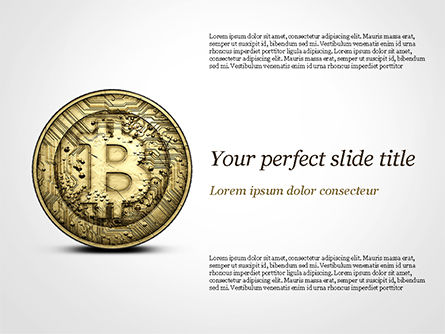 Gold Coin with Bitcoin Sign PowerPoint Template, 15029, Technology and Science — PoweredTemplate.com