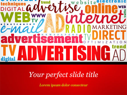 Advertising Word Cloud Collage PowerPoint Template, 15030, Careers/Industry — PoweredTemplate.com