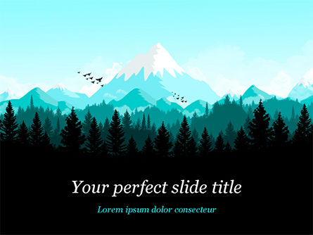 Mountain Forest PowerPoint Template, 15031, Nature & Environment — PoweredTemplate.com