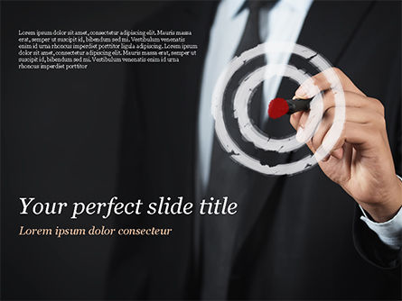 Business Concepts: Businessman Pressing on Target Goal PowerPoint Template #15034