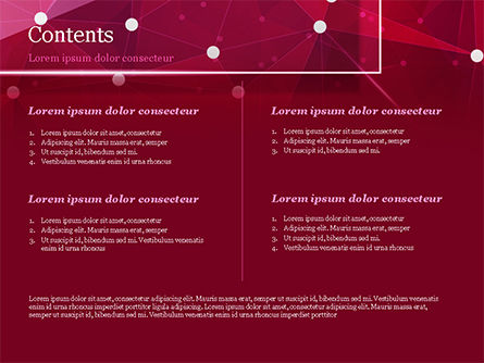 Connected Dots on Red Background PowerPoint Template, Slide 2, 15036, Abstract/Textures — PoweredTemplate.com