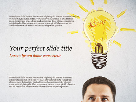 Man with Drawn Yellow Light Bulb PowerPoint Template, 15037, Business Concepts — PoweredTemplate.com