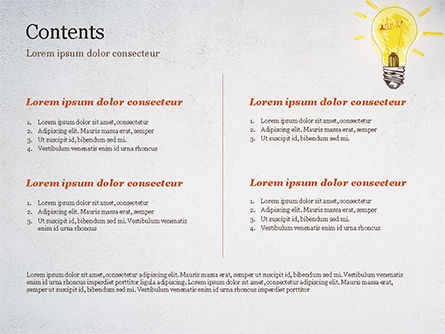 Man with Drawn Yellow Light Bulb PowerPoint Template, Slide 2, 15037, Business Concepts — PoweredTemplate.com