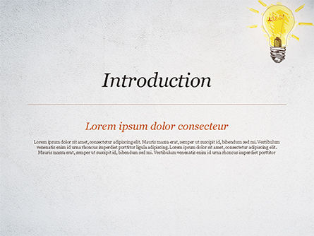 Man with Drawn Yellow Light Bulb PowerPoint Template, Slide 3, 15037, Business Concepts — PoweredTemplate.com