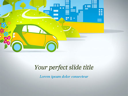 Eco Car PowerPoint Template, 15039, Cars and Transportation — PoweredTemplate.com