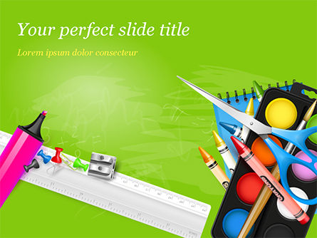 Education & Training: School Supplies on Green Background PowerPoint Template #15044