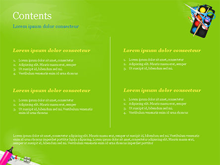 School Supplies on Green Background PowerPoint Template, Slide 2, 15044, Education & Training — PoweredTemplate.com