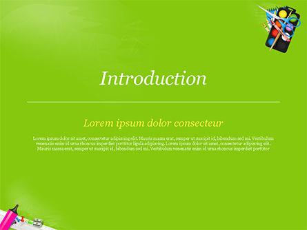 School Supplies on Green Background PowerPoint Template, Slide 3, 15044, Education & Training — PoweredTemplate.com