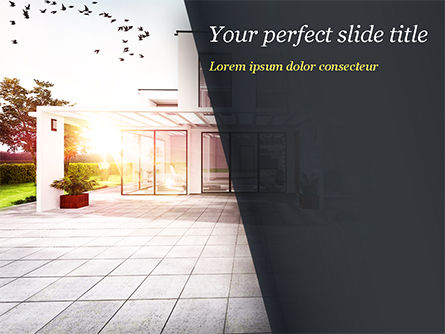 Construction: Stylish Modern Home PowerPoint Template #15056