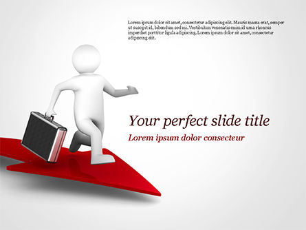 3D: 3D Businessman Runs on the Red Arrow PowerPoint Template #15057