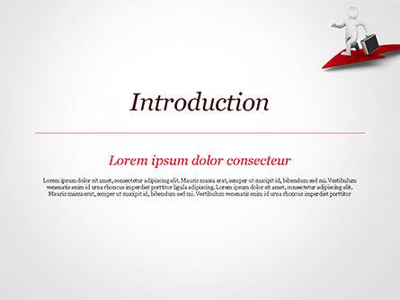 3D Businessman Runs on the Red Arrow PowerPoint Template, Slide 3, 15057, 3D — PoweredTemplate.com