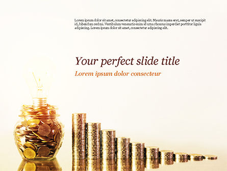 Golden Coins Stacks and Light Bulb PowerPoint Template, 15063, Financial/Accounting — PoweredTemplate.com