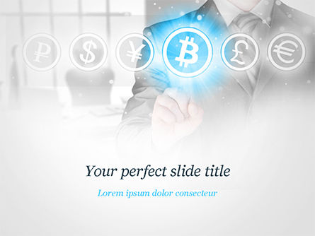 Financial/Accounting: Mann der bitcoin-ikone bedrängt PowerPoint Vorlage #15072