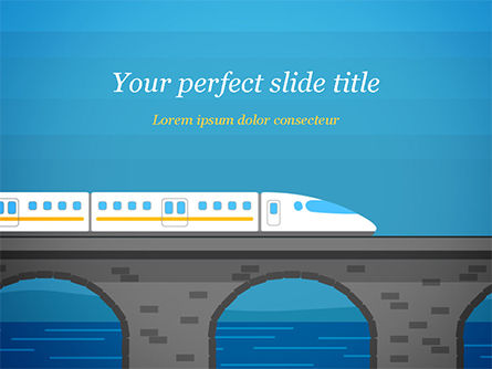 Cars and Transportation: High-Speed Train Illustration PowerPoint Template #15078