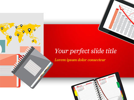 Top View of Working Place Elements PowerPoint Template, 15090, Business Concepts — PoweredTemplate.com