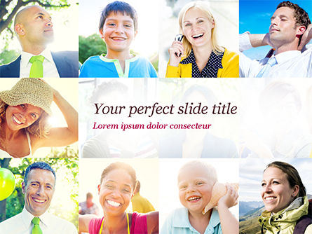 People: Multiethnic Diverse Cheerful People PowerPoint Template #15094