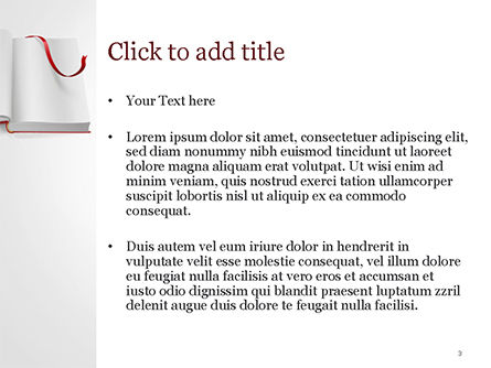 Open Book with Red Bookmark PowerPoint Template, Slide 3, 15097, Education & Training — PoweredTemplate.com