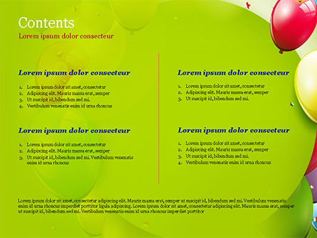 Colorful Balloons and Garlands PowerPoint Template, Slide 2, 15099, Holiday/Special Occasion — PoweredTemplate.com
