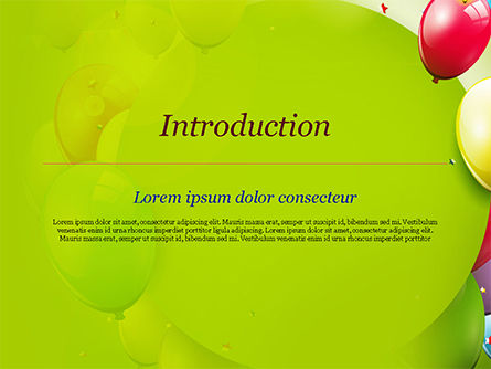 Colorful Balloons and Garlands PowerPoint Template, Slide 3, 15099, Holiday/Special Occasion — PoweredTemplate.com