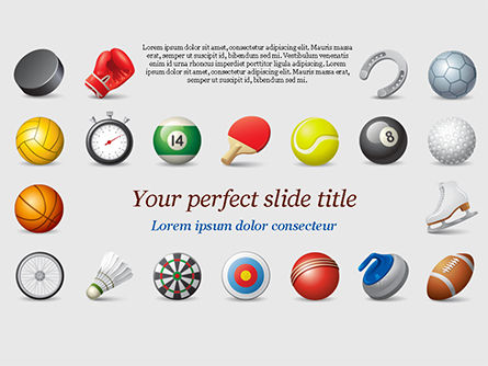 Sports Equipment Icons PowerPoint Template, 15100, Sports — PoweredTemplate.com