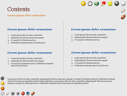 Sports Equipment Icons PowerPoint Template, Slide 2, 15100, Sports — PoweredTemplate.com