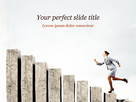Business Woman Runs Up PowerPoint Template, 15102, Business Concepts — PoweredTemplate.com