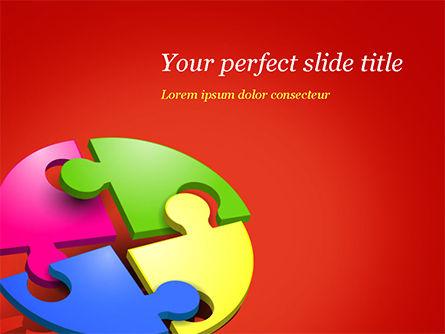 3D: Plantilla de PowerPoint - puzzle de cuatro partes #15104
