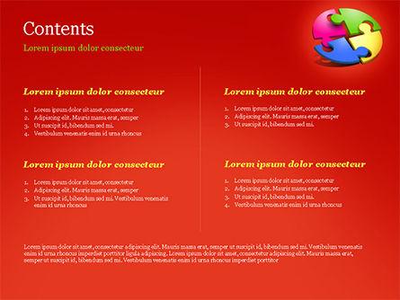 Four Part Puzzle PowerPoint Template, Slide 2, 15104, 3D — PoweredTemplate.com
