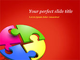 3D: Four Part Puzzle PowerPoint Template #15104