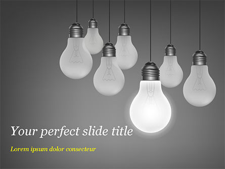 Business Concepts: Light Bulbs on Gray Background PowerPoint Template #15111
