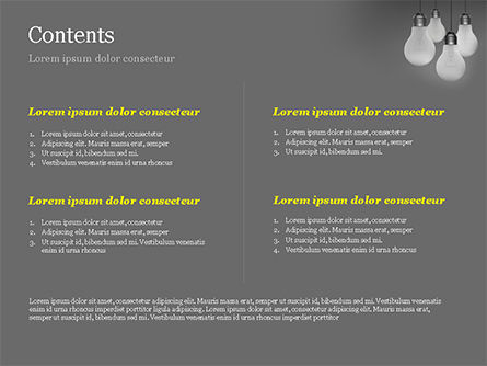 Light Bulbs on Gray Background PowerPoint Template, Slide 2, 15111, Business Concepts — PoweredTemplate.com