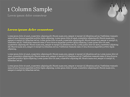 Light Bulbs on Gray Background PowerPoint Template, Slide 4, 15111, Business Concepts — PoweredTemplate.com