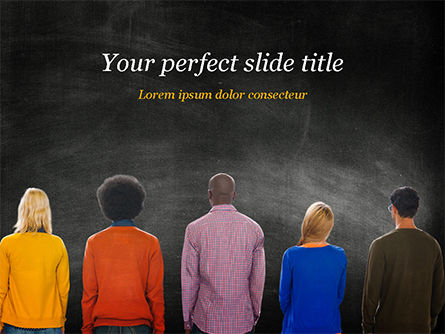 Peoples in Front of Large Blackboard PowerPoint Template, 15119, Education & Training — PoweredTemplate.com