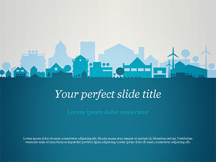 Small Town Skyline PowerPoint Template, 15120, Real Estate — PoweredTemplate.com