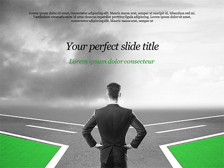 Business Concepts: Businessman at Crossroads PowerPoint Template #15122