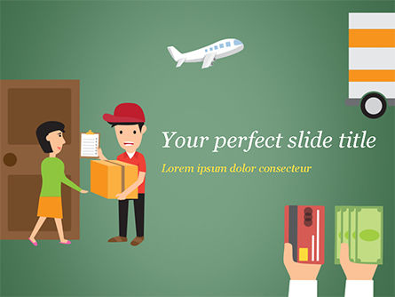Delivery Service Illustration PowerPoint Template, 15123, Careers/Industry — PoweredTemplate.com