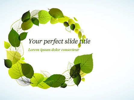 Green Leaves Circle PowerPoint Template, 15127, Nature & Environment — PoweredTemplate.com
