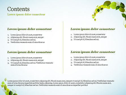 Green Leaves Circle PowerPoint Template, Slide 2, 15127, Nature & Environment — PoweredTemplate.com