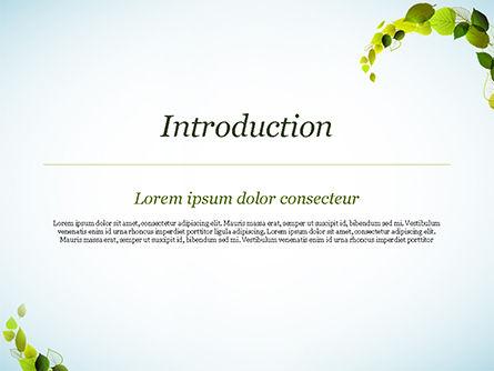 Green Leaves Circle PowerPoint Template, Slide 3, 15127, Nature & Environment — PoweredTemplate.com