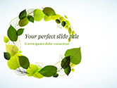Nature & Environment: Green Leaves Circle PowerPoint Template #15127